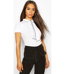 collar & bow front top with puff sleeves, white