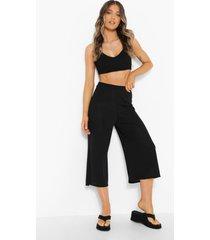 geribbelde basic culottes, black