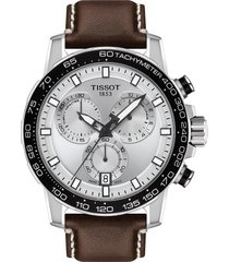 men's tissot supersport chronograph leather strap watch, 45.5mm