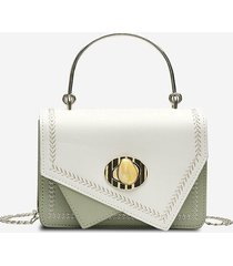 faux gem hasp irregular metal handle handbag