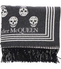 alexander mcqueen skull biker blanket scarf
