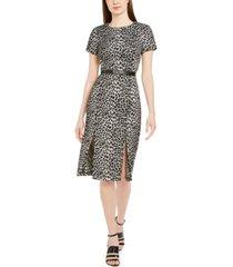 calvin klein belted animal-print slit dress