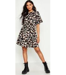 tall gesmokte luipaardprint jurk, geelbruin