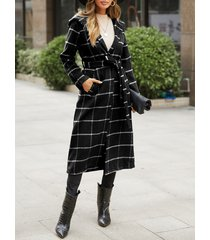 tartán negro cinturón diseño abrigo de manga larga de tartán