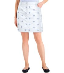 karen scott petite lace-embroidered skort, created for macy's