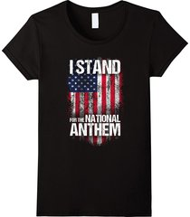 i stand for the national anthem t-shirt, distressed usa flag women