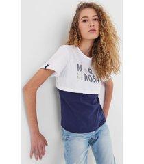 camiseta morena rosa sobreposiã§ã£o lettering branca/azul-marinho - branco - feminino - algodã£o - dafiti