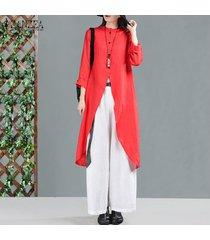 zanzea mujeres camiseta de manga larga asimétrica tops casual blusa larga abajo de los botones tops (no incluye los pantalones) -rojo