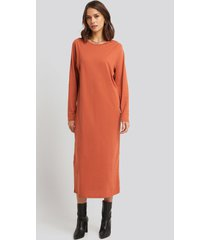 na-kd basic seam detail long sleeve t-shirt dress - orange
