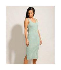 vestido canelado midi básico com fenda alça média decote redondo verde água