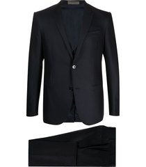 corneliani academy front pleated suit - blue