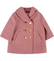 gucci pink coat with double gg for baby girl
