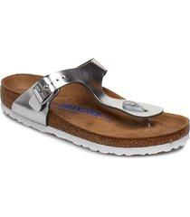 gizeh shoes summer shoes flat sandals silver birkenstock