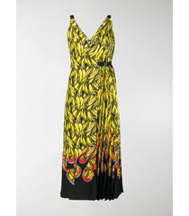 prada sleeveless banana flame print dress