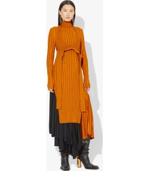proenza schouler heavy rib knit layered dress saffron/orange m