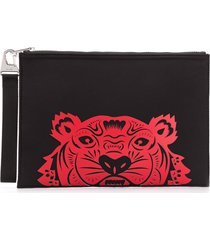 kenzo tiger's head print clutch - black
