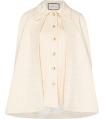 gucci detachable cape-effect tweed vest - white