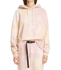 women's john elliott alma volcano dye cotton hoodie, size 3 - pink