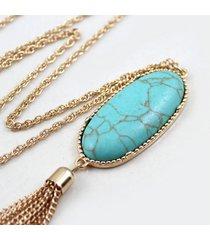 collana pendente d'epoca ovale catena rock colorato nappe collana di fascino gioielli etnici per le donne