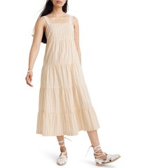 women's madewell stripe button back tiered midi dress