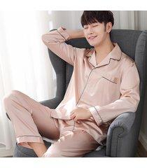 men silk long sleeve soft pajamas set pyjama sleepwear sets