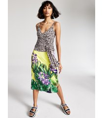 guess printed side-slit skirt