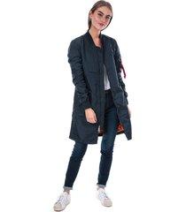 alpha industries womens ma1 tt coat size 12 in blue