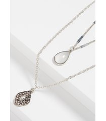 maurices womens 2 row gray teardrop drape necklace