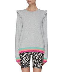bondi' tricolour stripe trim ruffled shoulder sweatshirt