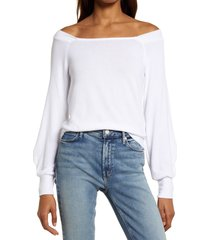 women's treasure & bond off the shoulder sweater, size small - white