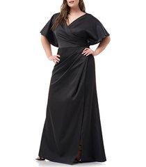 plus size women's js collections faux wrap satin a-line gown, size 22w - black