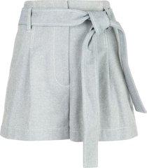 3.1 phillip lim belted high-waist denim shorts - blue