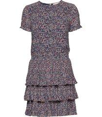 pleat tier dress kort klänning multi/mönstrad michael kors
