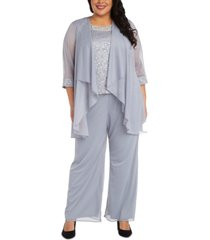 r & m richards plus size 3-pc. jacket, lace top & pants set