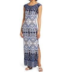 women's connected apparel tile print cap sleeve maxi dress, size 8 - blue