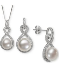cultured freshwater pearl (8 & 10mm) & white topaz (1-1/3 ct. t.w.) jewelry set in sterling silver