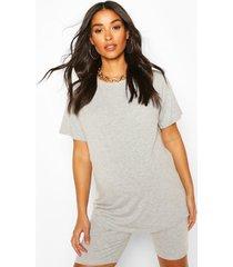 maternity oversized t-shirt & short lounge set, grey marl
