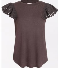 maurices womens solid crochet sleeve tee