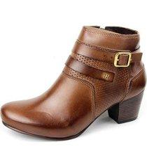 ankle boot couro sapatofran perlatto fivela feminina