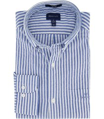 gant overhemd blauw gestreept regular fit