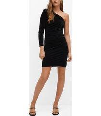 mango women's fitted metallic-effect dress