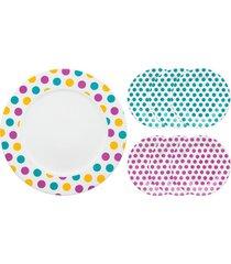 conjunto de pratos para bolo oxford dots - multicolorido - dafiti