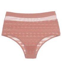 calcinha hot pant em laise e tela com elástico - rosa