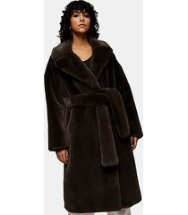 charcoal gray belted long faux fur coat - charcoal