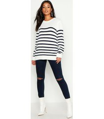 maternity stripe crew neck sweater, cream