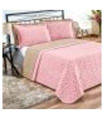 kit cobre leito rosa dupla face 3 peças matelado 2,45m x 2,40m casal padrão