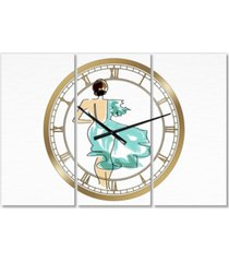 "designart evening dress fashion large fashion 3 panels wall clock - 23"" x 23"" x 1"""