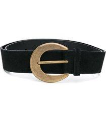 saint laurent round buckle belt - black
