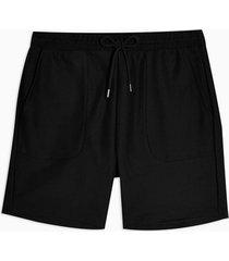 mens black twill jersey shorts