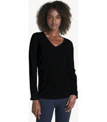 tommy hilfiger women's essential v-neck sweater deep black - xxs